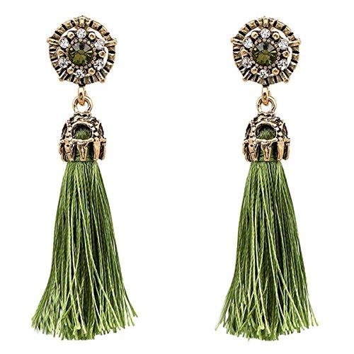 Women Vintage Earring Hollow Crystal Tassel Dangle Stud Earrings (Green) ()