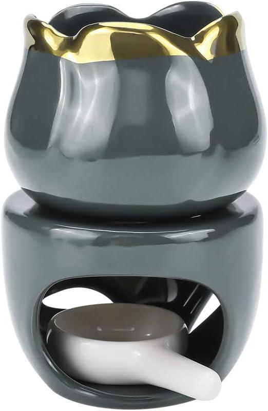 DONGKIKI アロマポット 陶器 アロマ炉 アロマディフューザー/アロマバーナー/キャンドルバーナー エレガントなデザイン 2点入り( グレーゴールド )