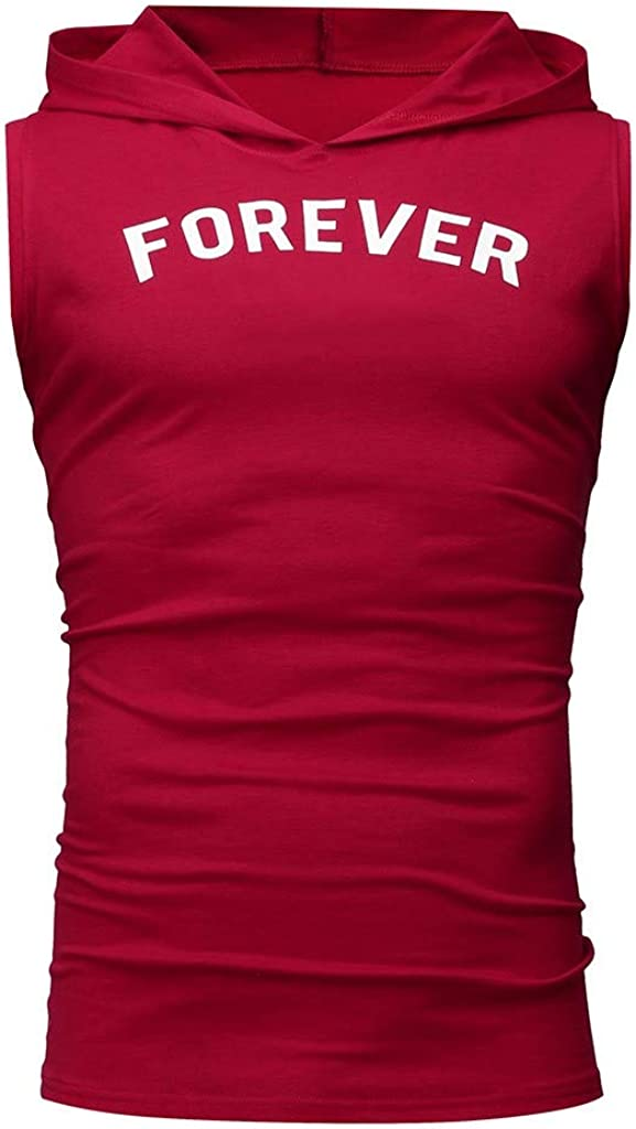 Mens Forever Letter Printed Casual Tank Tops Gym Workout Fitness Sleeveless Muscle Hoodie Tee