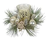 12 Inch Christmas Candle Holder In Gold and Silver With Glass Hurricane