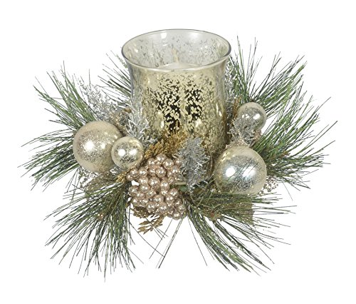 12 Inch Christmas Candle Holder In Gold and Silver With Glass Hurricane by DE