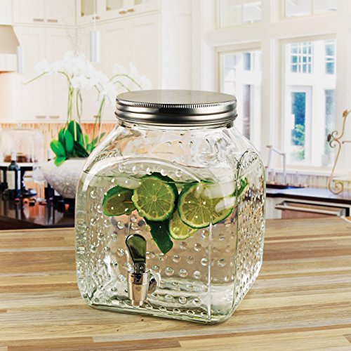 Hobnail Clear Glass - Circleware 69150 Hobnail Square Bottom Glass Beverage Drink Dispenser with Metal Lid Gla Glassware for Water, Iced Tea Kombucha, and All Type of Cold, 1.25 Gallon