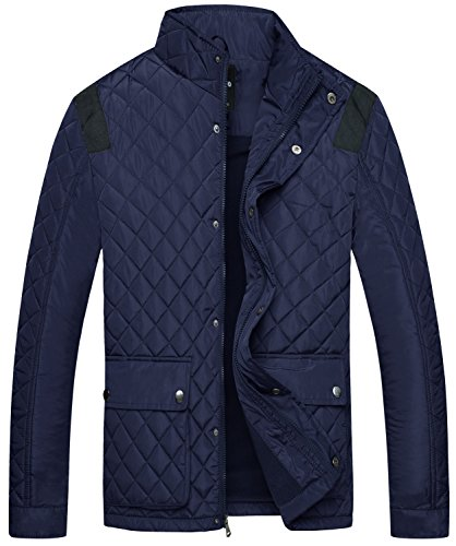 Wantdo Men's Quilted Puffer Jacket Warm Windproof Stand Collar Diamond Coat Navy Large by Wantdo