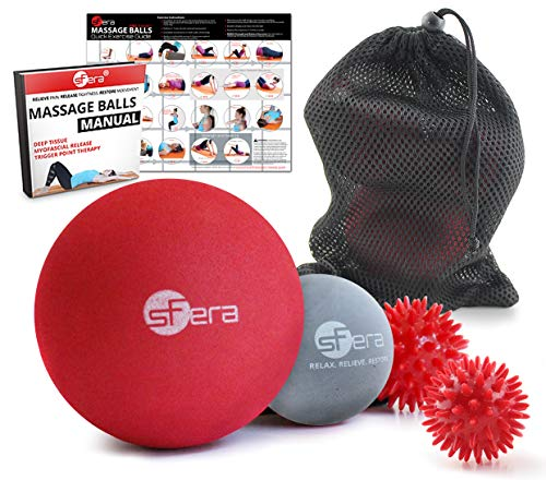sFera Therapy Massage Balls Set of 4 for Trigger Point, Myofascial Release, Deep Tissue | Includes: Firm 4