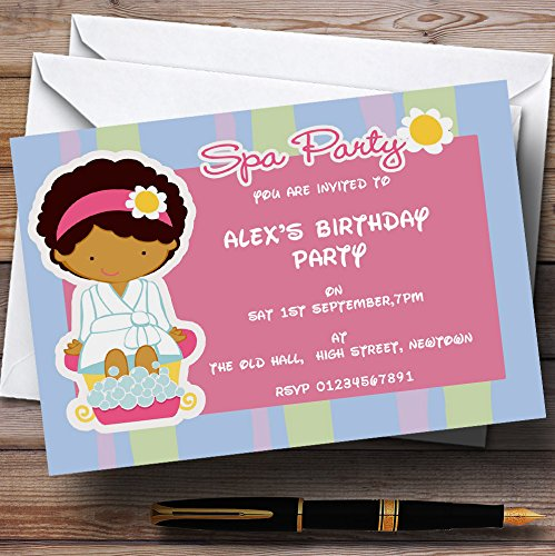 Blue And Pink Spa Personalized Birthday Party Invitations