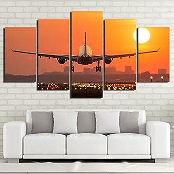 36d1e9fc05 Incluir lienzos enmarcados por Salón decoración de hogar HD imprime 5  Piezas de atardeceres de avión aviones arte de pared póster