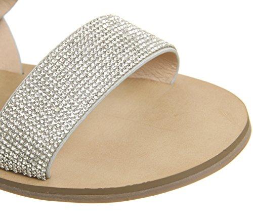 Office Sherbert Embellished Two Strap Sandals Silver Kdmvq