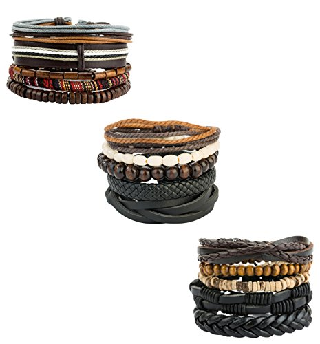REVOLIA 15Pcs Mens Womens Leather Bracelets Wooden Beaded Bracelets Braided Cuff (B: 15 Pcs Set)