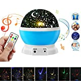 [Newest Design] Remote Control LED Night Light Projector, Elecstars 360 Rotating Star Lamp 4 LED Bulbs 8 Modes with Built-in Mini Music Player for Men Women Kids Best Baby Gifts (Blue)