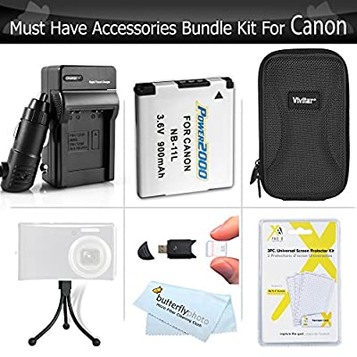 Must Have Accessory Kit For Canon Powershot Elph 190 IS, ELPH 180, ELPH 150 IS, ELPH 350 HS, A2500, ELPH 170 IS, ELPH 160, ELPH 360 HS Camera Includes Replacement NB-11L Battery + Charger + Case ++