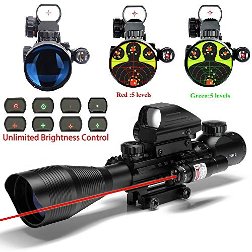 (UUQ C4-12X50 Rifle Scope Dual Illuminated Reticle W/ Red Laser and Holographic Dot Sight (12 Month Warranty))