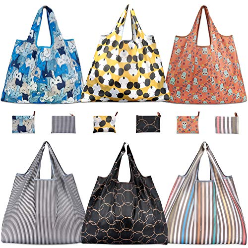Reusable Grocery Bags, TEOYALL 6 Pack Eco Friendly Large Foldable Grocery Tote Bag Heavy Duty Washable Shopping Bags (6 Pack#3)