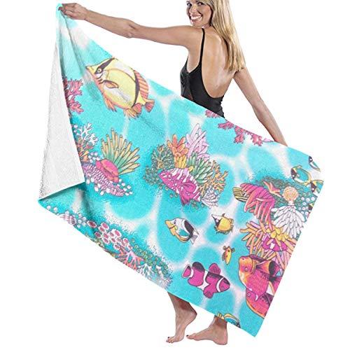 Xianjingshui 32 X 52 Inch High Absorbency Bath Towel Tropical Fish Cotton Lightweight Large Bath Sheet for Beach Home Spa Pool Gym Travel