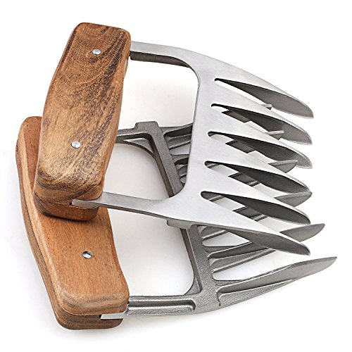 Metal Meat Claws, 1Easylife 18/8 Stainless Steel Meat Forks with Wooden Handle, Best Meat Claws for Shredding, Pulling, Handing, Lifting & Serving Pork, Turkey, Chicken, Brisket (2 Pcs,BPA Free)
