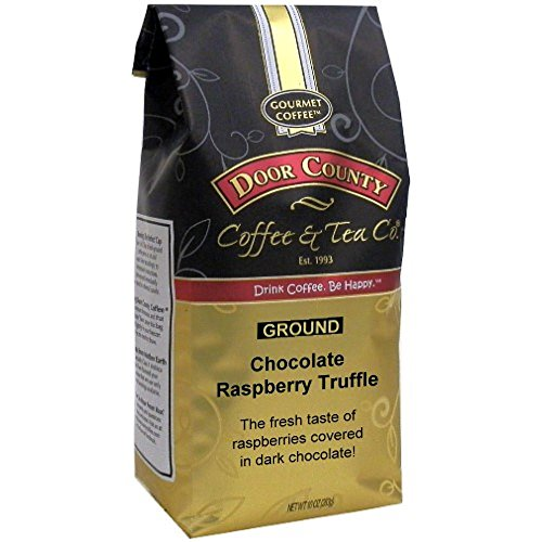 Door County Coffee, 10oz Bags (Chocolate Raspberry Truffle, Ground) (Coffee Raspberry Decaf)