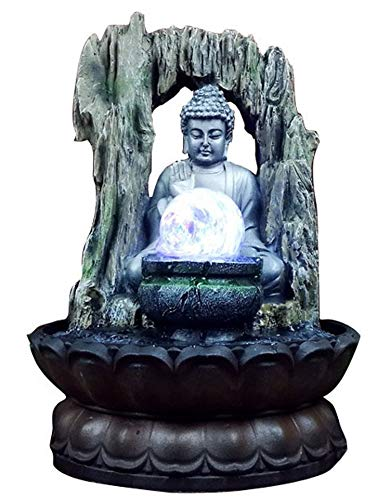 Sitting Buddha Fountain Crystal Tabletop Zen Fountain and Sculptures Indoor 11