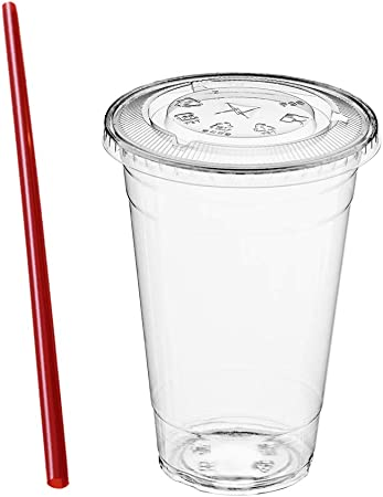 Clear Straws Included 50 Clear PET Plastic 32 oz Cup w// Flat Straw Slotted Lid