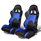 Set of 2 Universal Type-R PVC Leather Reclinable Racing Seats w/ Sliders (Black Body/Blue Trim)