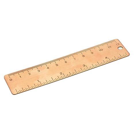 Vintage Brass Ruler Bookmark Rose Gold Measuring Straight Ruler Office Supplies