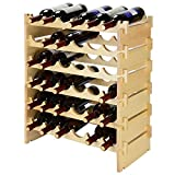 SortWise 36 Bottles Stackable Modular Wine Rack, Free Standing Solid Natural Wood Wine Holder Display Shelves, 6 Tier (Natural Wood / 36 Bottles)