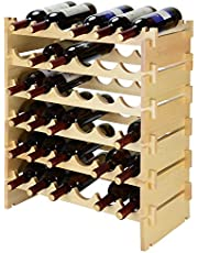 SortWise 36 Bottle Stackable Modular Wine Rack, Free Standing Solid Natural Wood Wine Holder Display Shelves, 6 Tier (Natural Wood / 36 Bottles)
