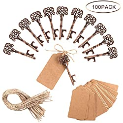 PartyTalk 100pcs Vintage Skeleton Key Bottle Opener Wedding Favors with Tag and Twine, Antique Key Bottle Opener Rustic Christmas Party Decorations