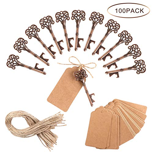 PartyTalk 100pcs Vintage Skeleton Key Bottle Opener Wedding Favors with Tag and Twine, Antique Key Bottle Opener Rustic Christmas Party -