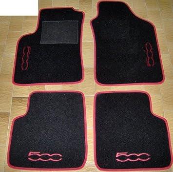 Set Completo di Tappetini su Misura in Moquette Neri con Ricamo a Filo Rosso Tappeti per Auto