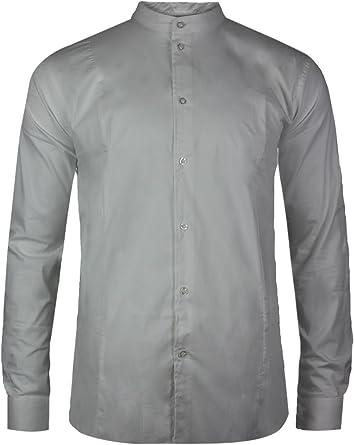 trueprodigy Casual Hombre Marca Camisa Basico Ropa Retro Vintage Rock Vestir Moda Cuello Alto Manga Larga Slim fit Designer Fashion Shirt: Amazon.es: Ropa y accesorios