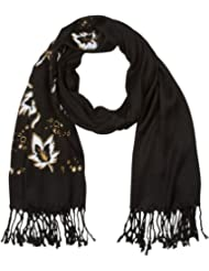 Sakkas 100SSY Metallic Leaves Floral Pashmina Scarf / Stole / Wrap / Shawl - Black