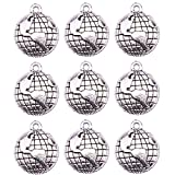 world beads - JETEHO 100Pcs Globe Charms Globe Earth Charms Pendants for Jewelry Making, Necklace, Bracelet (Antique Silver)