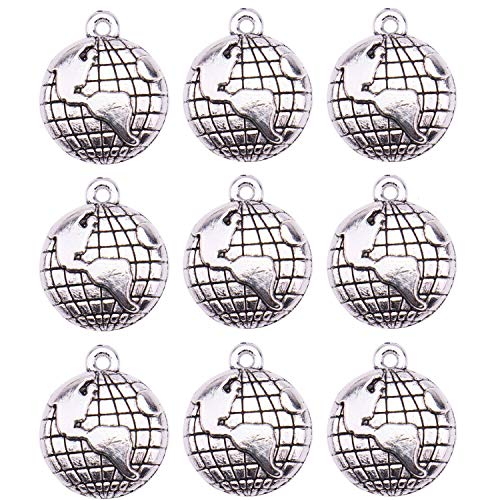 Globe Charm - JETEHO 100Pcs Globe Charms Globe Earth Charms Pendants for Jewelry Making, Necklace, Bracelet (Antique Silver)
