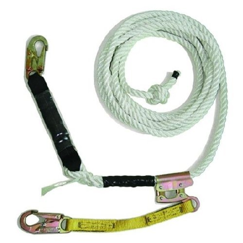 Guardian Fall Protection 11323 VLA-50 3 Strand White Polydac Assembly with Shock Pack, Positioning Device, and 18 Inch Extension Lanyard, - Rope Lifeline Assemblies
