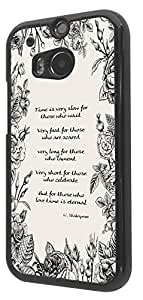 395 - Shabby chic floral roses Time is very slow for those who wait Shakespeare Quote Design For htc One M8 Fashion Trend CASE Back COVER Plastic & Slim Metal -Black