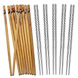 Top Rated Hiware Premium Quality 10 Pairs Reusable Chopsticks Set Include 5 Pairs Metal Stainless Steel Spiral Chopsticks and 5 Pairs Natural Bamboo Chopsticks 8.8 Inches, Easy to Hold