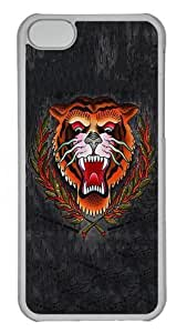 iPhone 5C Case and Cover - Tiger Head PC Hard Plastic Case for iPhone 5C Transparent