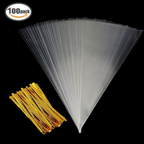 Clear Cone Bags 100PCS Cellophane Triangle Clear Treat Bags with Gold Twist Ties for Favor Christmas Candy Popcorn Handmade Cookies Sweets Crafts 14.5 by 7