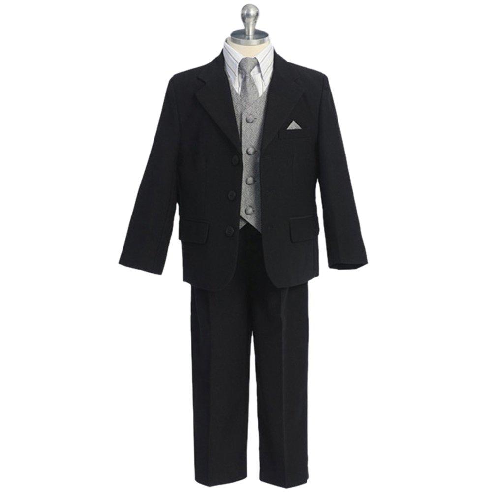 HBDesign Boys'2 piece 3 Button Notch Lapel Slim Trim Fit Casual Boy Suite Black
