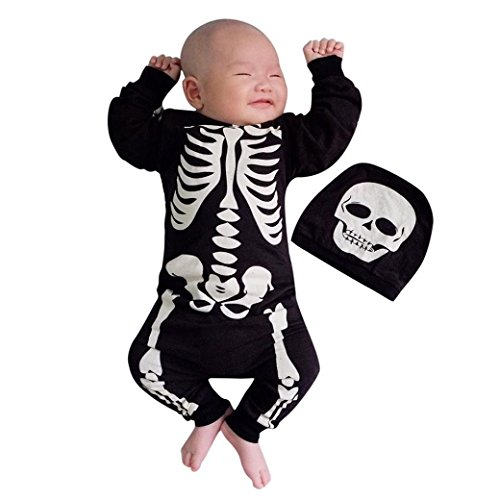 KONFA Toddler Newborn Baby Boys Girls Skeleton Romper with Hat,for 0-24 Months,Kids Halloween Jumpsuit Costumes Set (Black, 12-18 Months) -