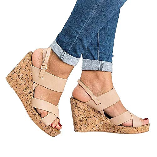 Sandals For Women, Clearance Sale !! Farjing Peep Toe Breathable Beach Sandals Boho Bukcle Strap Casual Wedges - Plaid Wedge Sandals