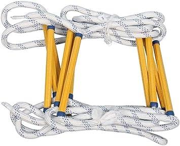 RINGO123 escape Escalera de cuerda Emergencia escalera de incendios con 2 Hook, resistente escalera de cuerda