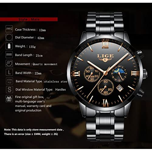 Mens Watches Fashion Sports Quartz Watch Stainless Steel Silver with Gold Strap Top Brand Luxury Simple Style Business Watch Waterproof 30M