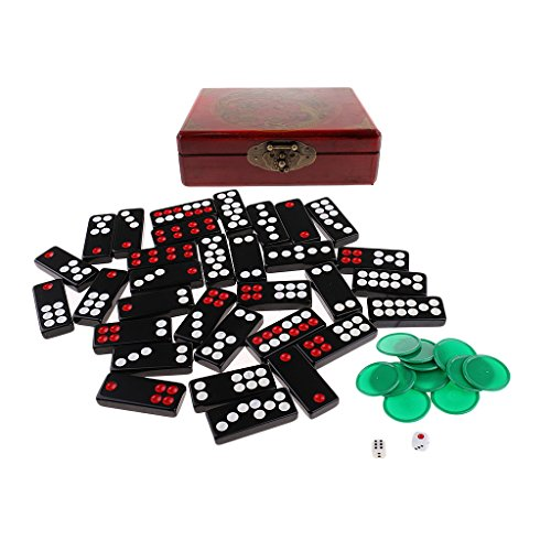 Baoblaze Portable Chinese Antique Pai Gow Paigow Tiles in Wooden Box for Party Casinos Player
