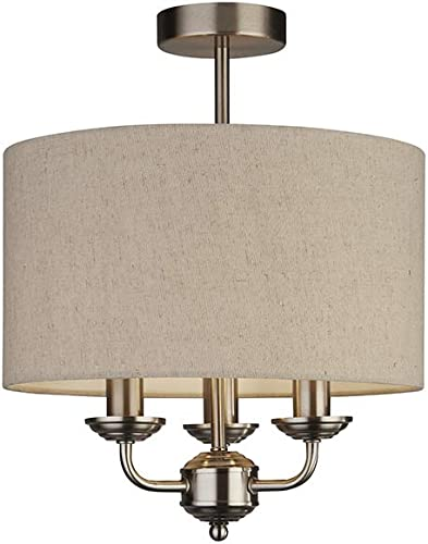 Lighting Collection - Lámpara de techo con 3 brazos y pantalla de lino color crema (7 W, acabado satinado), color plateado: Amazon.es: Iluminación