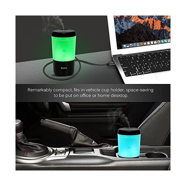Syntus USB Car Essential Oil Diffuser Mini Portable Aromatherapy Aroma Fragrance Humidifier Air Freshener Purifier For Vehicle Office Travel Home