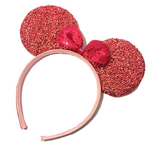 Pink Sparkly Glitter Mouse Ears Alice Hair Band Headband Fancy Dress Party Hen (Halloween Mouse Ears Uk)