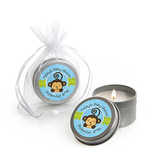 Custom Blue Monkey Boy - Personalized Candle Tins Baby Shower Favors - Set of 12