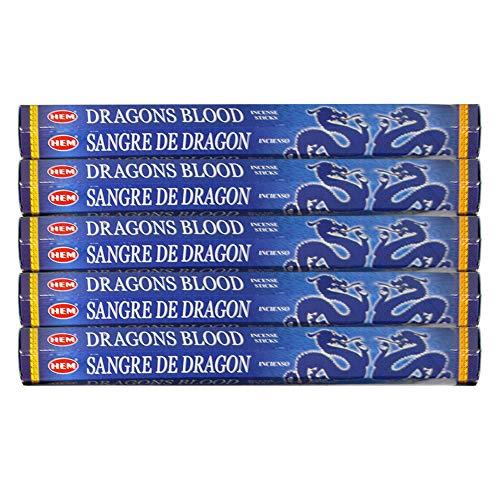 HEM Dragon's Blood Blue 100 Incense Sticks (5 X 20 Stick Packs)