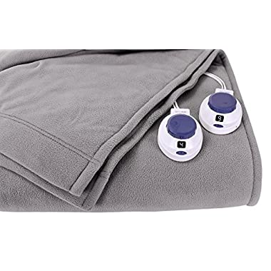 Soft Heat Luxury Micro-Fleece Low-Voltage Electric Heated Blanket, King, Grey