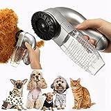 Iusun Pet Hair Fur Remover Shedd Grooming Brush Cat Dog Comb Vacuum Cleaner Trimmer (Silver)